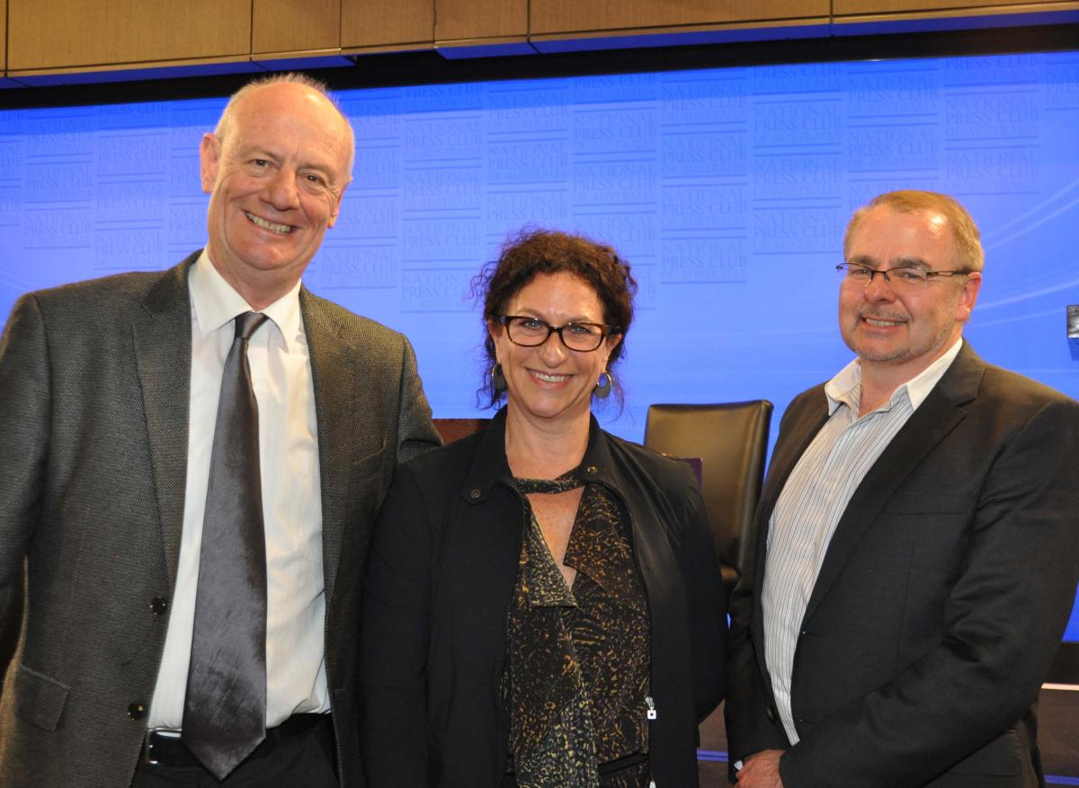 CCA Chair Tim Costello, Pro Bono Australia CEO Karen Mahlab, CCA CEO Daivd Crosbie